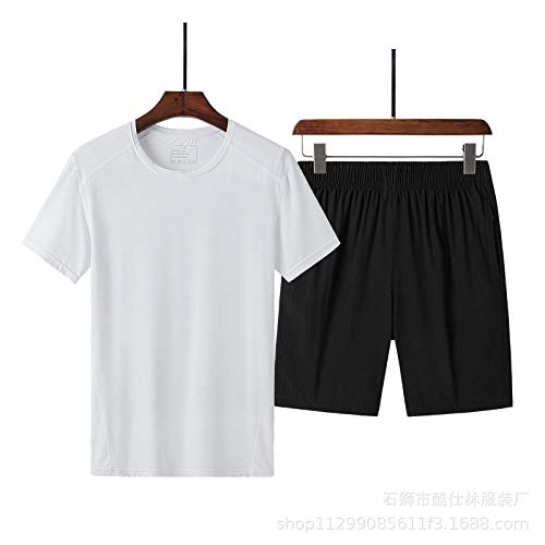 WYYH Mode Décontractée Plage Manche Courte Costume à séchage Rapide,Homme Sport Outdoor Quick Dry Tops Men Short Sleeved T-Shirt Extensible Shorts, pour Cyclisme Fitness Running