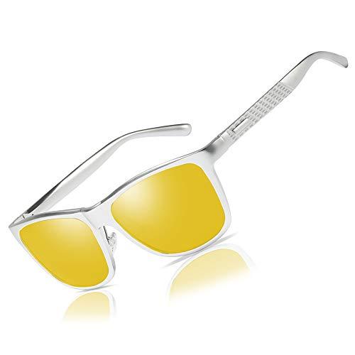Bircen HD Night Vision Driving Anti-Glare Glasses for Men Women Al-Mg Metal Frame Rainy SafePolarized Fashion Sun glasses (Silver frame Nightlens)