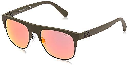 Polo Ralph Lauren Herren 0PH4132 Sonnenbrille, Mehrfarbig (Matte Olive), 55