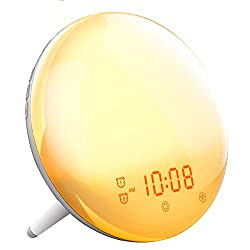 SONATA Wake- Up Light Alarm Clock, Sunrise Simulation & Sleep Aid Feature, Dual Alarms 7 Color Atmosphere Lamp with FM Radio 7 Natural Sounds and Snooze Function for Kids Adults Bedrooms(General)