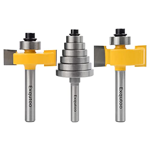 Exqutoo 1/4 Inch Shank Rabbet Router Bits with 6 Bearings Set for Multiple Depths - 3/8