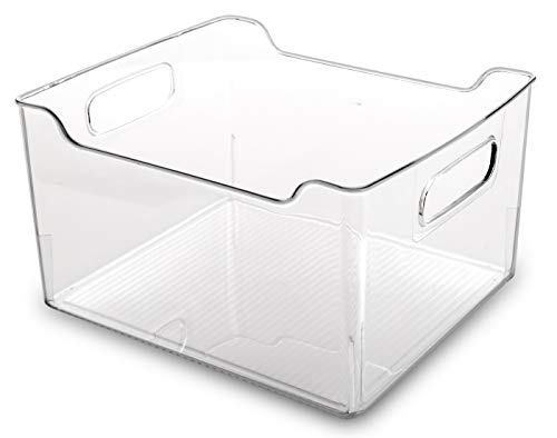 BINO Clear Plastic Storage Bin with Handles - Plastic Storage Bins for Kitchen, Cabinet, and Pantry Organization And Storage - Home Organizers And Storage - Refrigerator and Freezer Organizer Bins