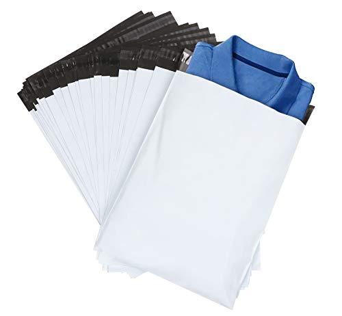 ilauke 60pcs Sacs d'expédition Plastique Sac de Courrier Pochettes Enveloppes Postales Couleur Blanc 30 * 40cm+5cm de Rabat