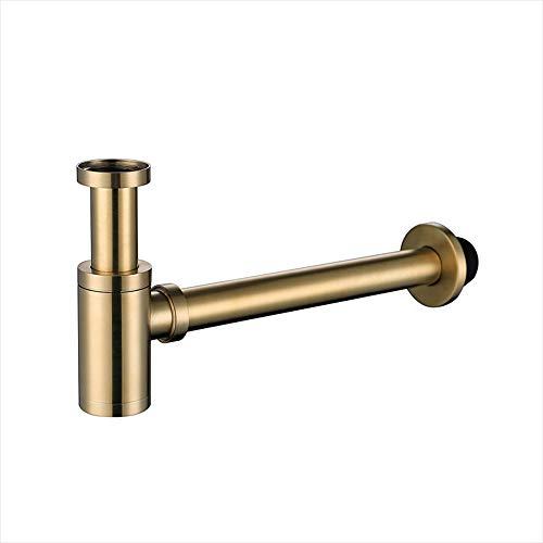 HAUSELIEBE Siphon Messing Röhrensiphon für Waschbecken Gebürstetes Gold Höhenverstellbar Siphons Waschbecken Ablauf Geruchsverschluss