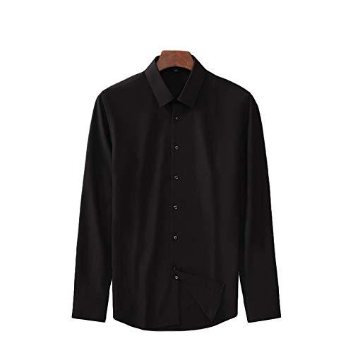 Camisas de Manga Larga de Primavera para Hombres, Botones de un Solo Pecho con Solapa de Moda, Camisas Formales de Corte Entallado de Negocios de Color sólido M