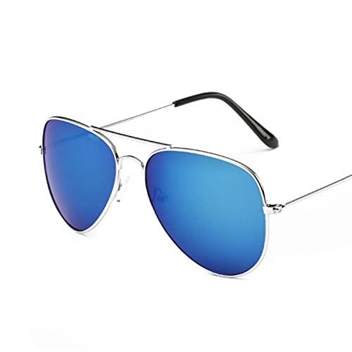 Moda Gafas De Sol De Aviación De Lujo A La Moda para Mujer, Gafas De Sol De Diseñador De Marca para Mujer, Gafas De Sol para Mujer, Uv400, Plateado, Azul