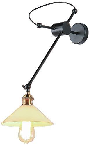 Led wandleuchte innen wandlampe mit schalter Retro Wandleuchte mit Trichterförmigem Klarglas-Lampenschirm Antiker Minimalist Eisen Geschmiedet Innen Wandbeleuchtung für Schlafzimmer Wohnzimme