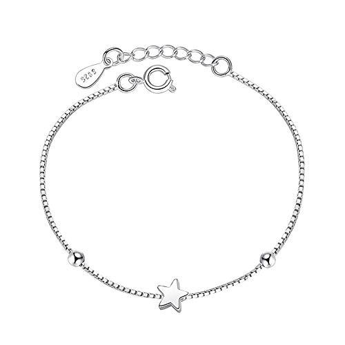 Chandler Pulsera de estrella simple para mujeres y niñas, de plata, regalo de cumpleaños para mujeres, esposa, lunes, señora