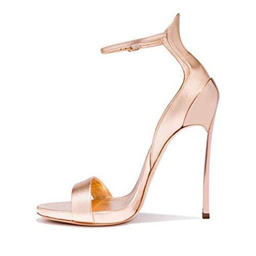 Pumps voor dames, hoge hakken, wighakken, sandalen, zomer, leer, open punt, Romeinse gesp, 10 cm, platte schoenen voor strand, reizen, champagne