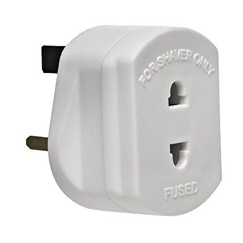 DabbersIT Adapter für Rasierer/Zahnbürste, 2-polig, UK-Stecker, mit 1 A Sicherung