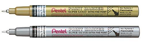 Pentel MFP10 Marcatore a vernice permanente Punta Extra Fine, 0,6 mm oro & argento
