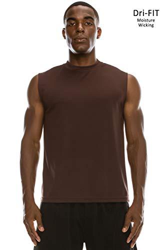 JC DISTRO Men's Active Workout Dri-Fit Muscle Fit T-Shirt Brown Tank Top XL