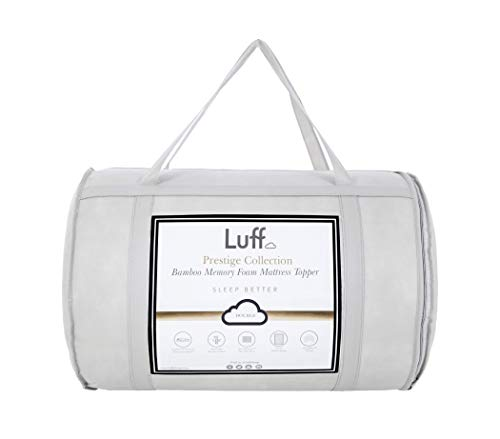 LUFF Prestige Bamboo Memory Foam Double Mattress Topper, with Hypoallergenic Bamboo Case and CloudTec Technology (135cm x 190cm)