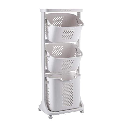Trolley Wäschekörbe auf Rollen, 4 Etagen, 82 l, rollbarer Wäschekorb, Aufbewahrungsbehälter mit Griffen, Kleidungsorganisation für Schlafzimmer, Badezimmer