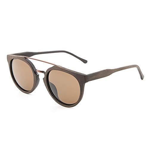 Yeeseu Placa de madera del grano de sol gafas de sol polarizadas gafas de sol retro for hombres y mujeres unisex gafas de moda (de color: café, Tamaño: Libre) Ciclismo, Correr, Pesca, Pesca, Senderism