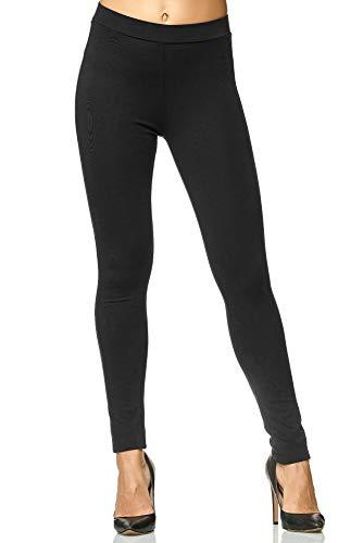Elara Damen Legging Skinny Fit Hose Chunkyrayan A26 Black 40 (L)