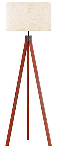 SUNMORY Wood Tripod Floor Lamp, Mid Century Dimmable Modern Lamp for Contemporary Living Rooms,Tall Adjustable Standing Lamp for Bedroom, Office(Red-Brown Tripod Holder)