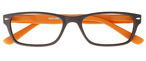 I NEED YOU Lesebrille Feeling, +2.00 Dioptrien, braun-orange