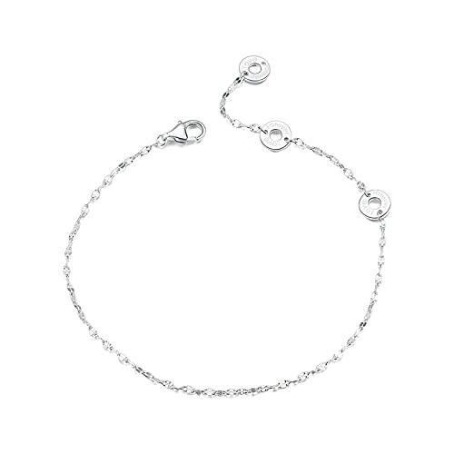 CHIY-GBC Pulseras de Plata 925 Pulseras de Cadena de Mujer de Estilo Simple Joyería Fina de Plata esterlina