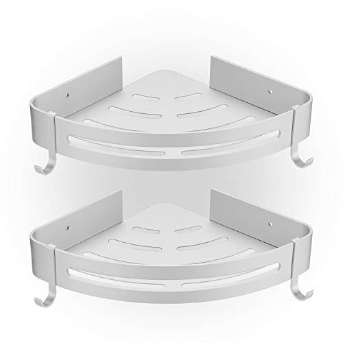 HBselect 2 Pcs Duschablage ohne Bohren Duschregal Eckregal mit 2 Haken Aluminium Duschkorb rostfrei Wasserdicht Badezimmer Küche (silbrig)