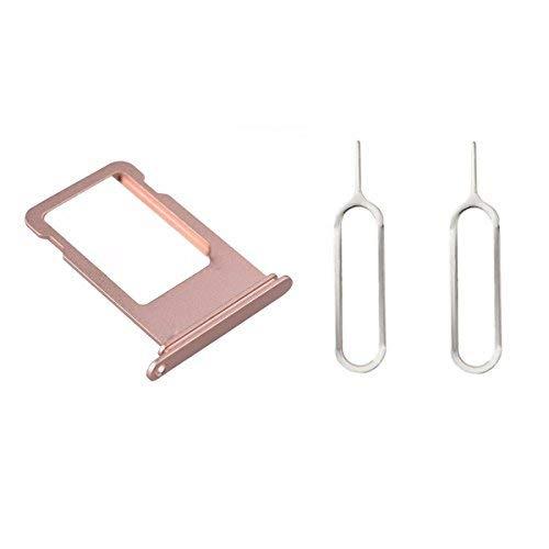 XcellentFixParts Ersatz SIM-Kartenhalter SIM Card Holder für iPhone 8 + 2 Nano und Micro SIM Card Adapter, und SIM Auswurf mit Wasserdichter Ring (Roségold)