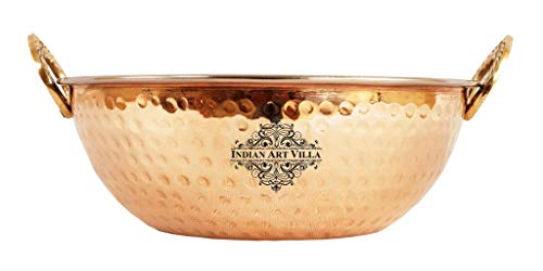 Indian Art Villa Steel Copper Kadai Wok Bowl, For Serving Dishes Tableware, 1000 Ml