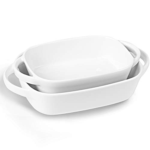 LEETOYI Porcelain Bakeware Set 2 Size, Rectangular Baking Dish with Double Handle,Ceramics Baking Pans for Kitchen, Cooking, Cake Dinner,1 or 2 person servings 10.5-Inch/9-Inch (White)