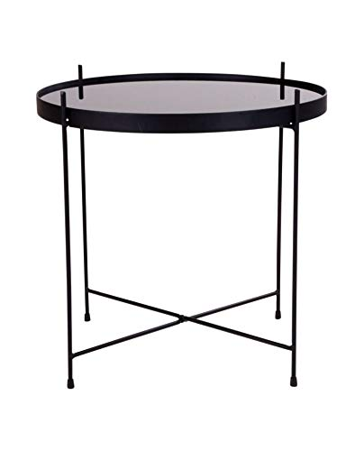 House Nordic salontafel, Venezia, staal, gepoedercoat, zwart, met glas, 48 x 48 cm