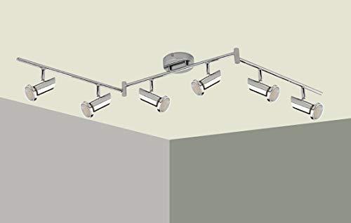 Trango 6-flammig 2000-68SD LED Deckenleuchte *MIA* in Chrom-Optik inkl. 6x 5 W 3-Stufen dimmbaren GU10 LED Leuchtmittel I Deckenlampe I Deckenstrahler I Deckenspots I Wohnzimmer Lampe schwenkbar