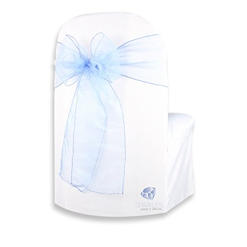 Sparkles Make It Special 100-pcs Organza Chair Cover Bow Sash - Light Blue - Wedding Party Banquet Reception - 28 Colors Available