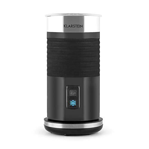 Klarstein Biancolatte Nero - Jarra espumadora con termostato, Calentador de leche, Antiadherente, cappuccino, latte macchiato y café con leche, Apagado automático, Acero inoxidable, Negro