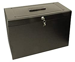 Metal foolscap file box for holding, organising and securing paper and other documents in Ideal for storing and filing foolscap paper due to sturdy metal design Black file box features easy carry handle for transporting when needed This item comes wi...