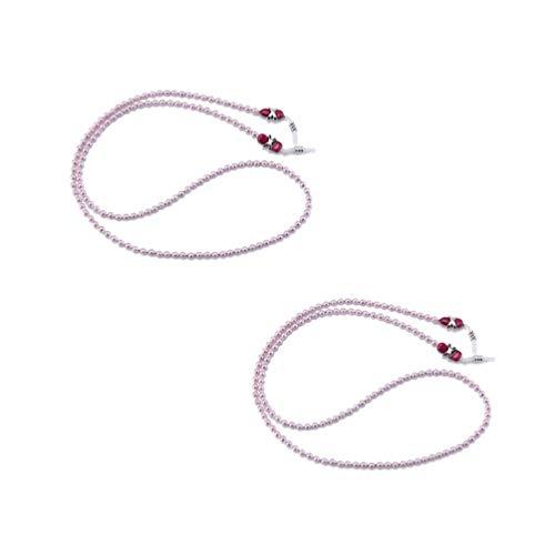 Supvox 2pcs Glasperlen Kette Imitation Perlen rutschfeste Sonnenbrille Ketten (pink)