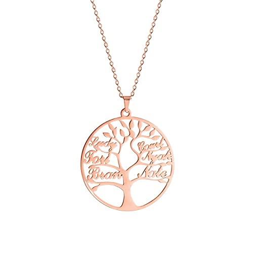 Árbol de la Vida Collar acero inoxidable carta personalizada Collares joyería de moda RoseGoldColor