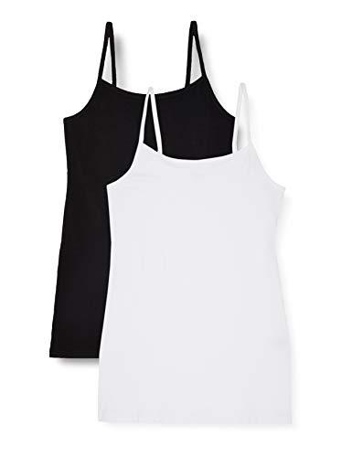 IRIS & LILLY Damen Schlafanzugoberteil , 2er Pack, Mehrfarbig (Black/White), L, Label: L