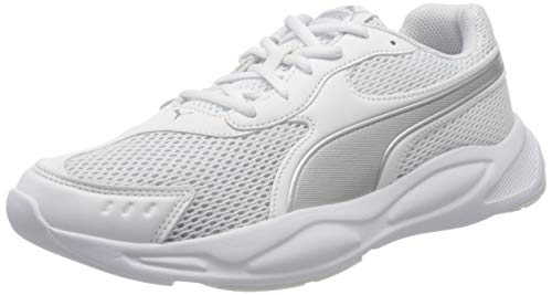 PUMA 90s Runner, Scarpe da Ginnastica Unisex-Adulto, Bianco White Silver, 42.5 EU