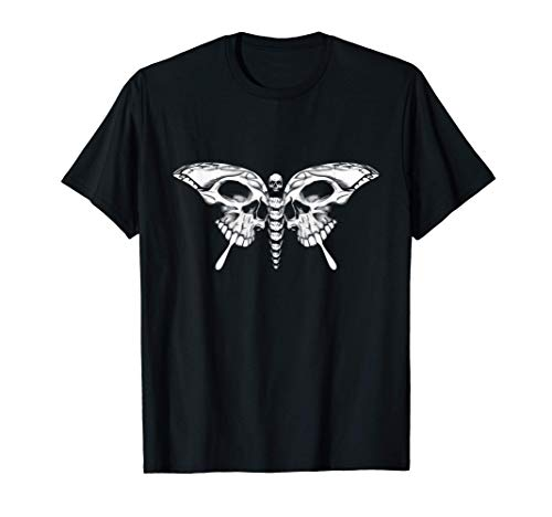 Skull Butterfly Cool Gothic Skeleton Calavera Artistic Gift T-Shirt