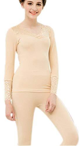 Vrouwen Thermische Ondergoed Set Herfst Winter Warmte T-Shirt Eenvoudige Glamoureuze en Leggings 2 Stuk Lange Mouw V-hals Splice Lace Body Shaping Functionele Ondergoed
