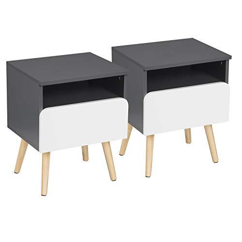 WOLTU® Nachttisch 2er Set Nachtkommode Nachtschrank Beistelltisch Sofatisch, mit Schublade und Offenem Fach, mit Beinen, Holz, Grau, 40x33,5x50cm(BxTxH), TSR58gr-2
