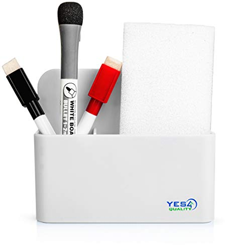 Magnetic Pen Holder with Strong Magnetic Back and 2 Compartments - Dry Erase Marker Holder for Whiteboard, Fridge, Locker - Pencil Holder (White)