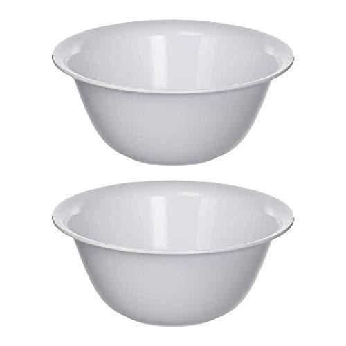 Sterilite Plastic Bowl 6 Qt. White Bulk 2 pack