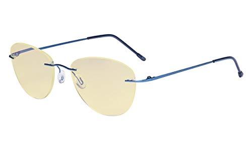 Eyekepper computerbril blauw licht blokkering met gele filter lens -Rimless Pilot lezen bril vrouw Ohne Stärke Blau-bb60 lens
