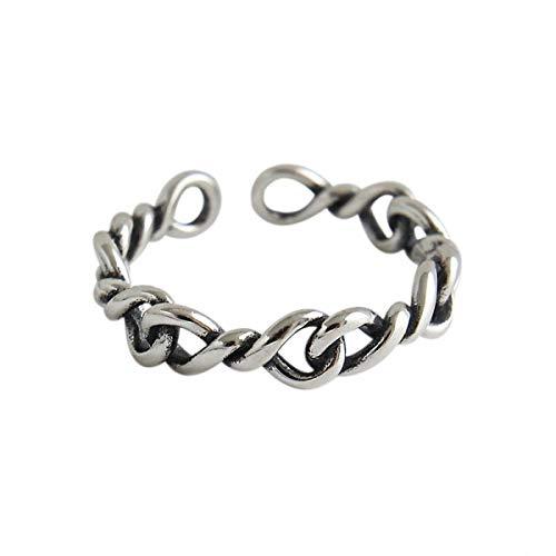 JAINGYUYAN S925 Sterling Silber Ring Einfacher Vergoldeter Möbius Ringe öffnen Ringe Natürlicher Kreativ Beliebt Handgemachter Einzigartiger Schmuck für Frauen und Mädchen