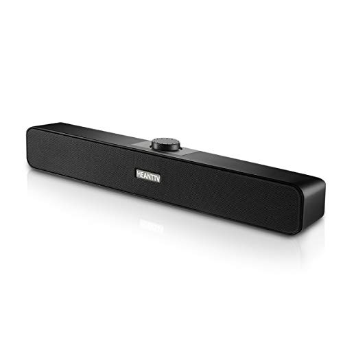 Altoparlanti USB per Computer, HEANTTV Casse PC USB 3.5mm 5w*2 Soundbar 2.0 USB Alimentato con 2 Diaframmi Portatile Speakers Stereo, Barra Audio per Desktop Notebook Laptop Cellulare, Plug And Play
