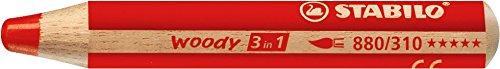 Buntstift, Wasserfarbe und Wachsmalkreide - STABILO woody 3 in 1 - Einzelstift - carminrot