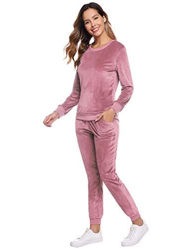 Abollria Damen Velours Hausanzug Weich Warm Samt Pyjamas Zweiteiler Freizeitanzug mit Taschen Nicki Oberteil+Hose für Winter, Rosa, S
