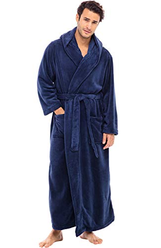 Alexander Del Rossa Men's Robe with Hood - Premium Fleece Bathrobe, Big and Tall, 1XL 2XL Navy Blue (A0125NBL2X)