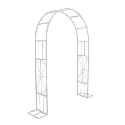 アーチ ガーデンアーチ ローズアーチ バラアーチ 鉄製 ベース付アーチ 白 1個 ガーデニング 組立式 ホワイト 国華園