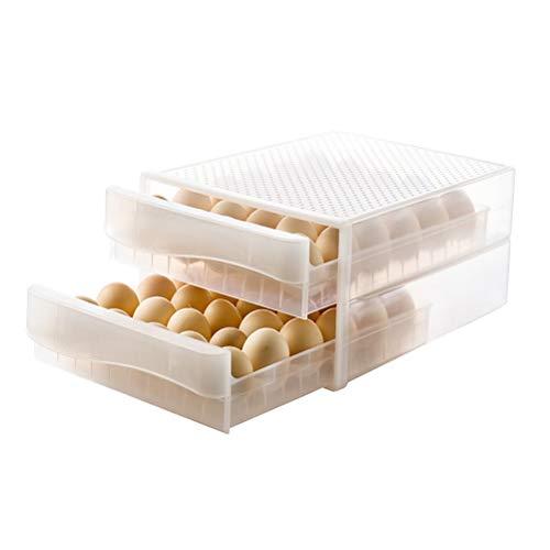 Caja de almacenamiento de huevos de doble capa Caja de huevos de refrigerador de contenedor de huevos transparente de rejilla 60