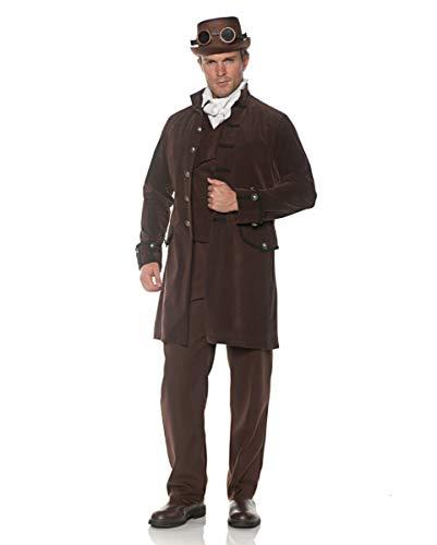 Brauner Samt Gehrock als Herrenkostüm für Halloween & Karneval One Size